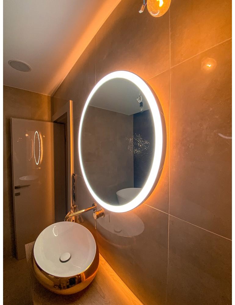 Okrúhle zrkadlo s integrovaným svietením a podsvietením - KOVOVÉ FARBY RÁMU