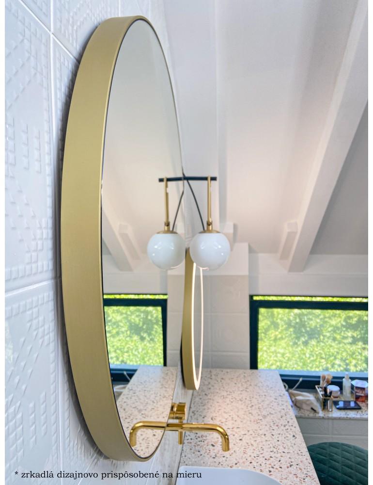 Zlaté okrúhle zrkadlo s podsvietením