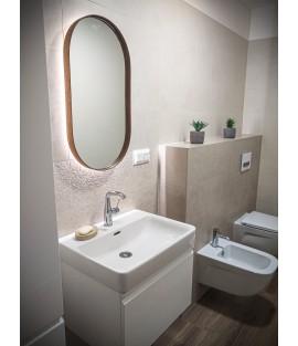 Orechové oválne zrkadlo s podsvietením