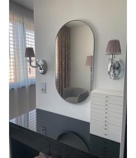 Strieborné oválne zrkadlo