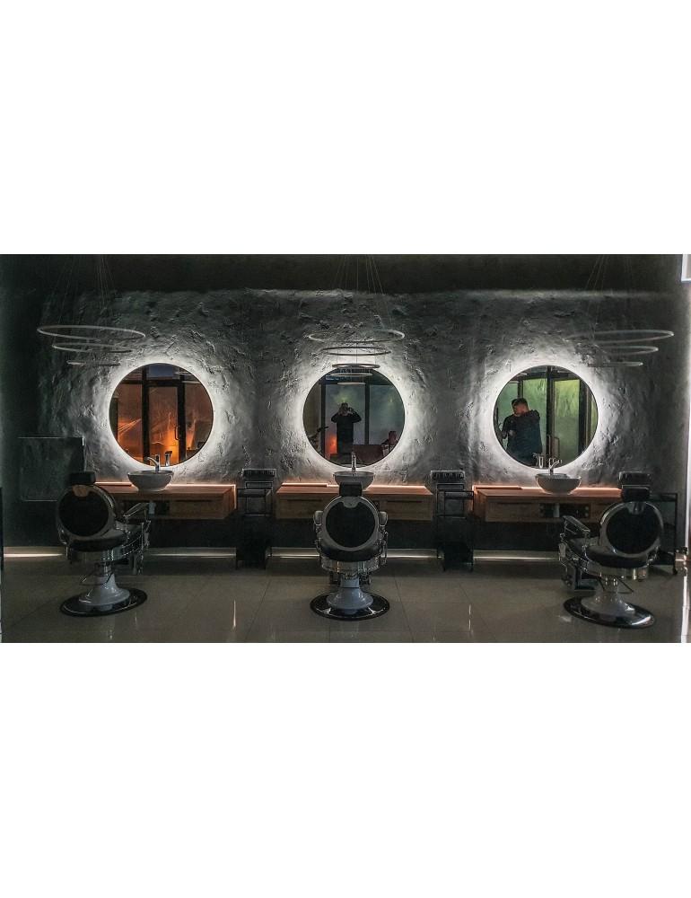 Čierne okrúhle zrkadlo s podsvietením