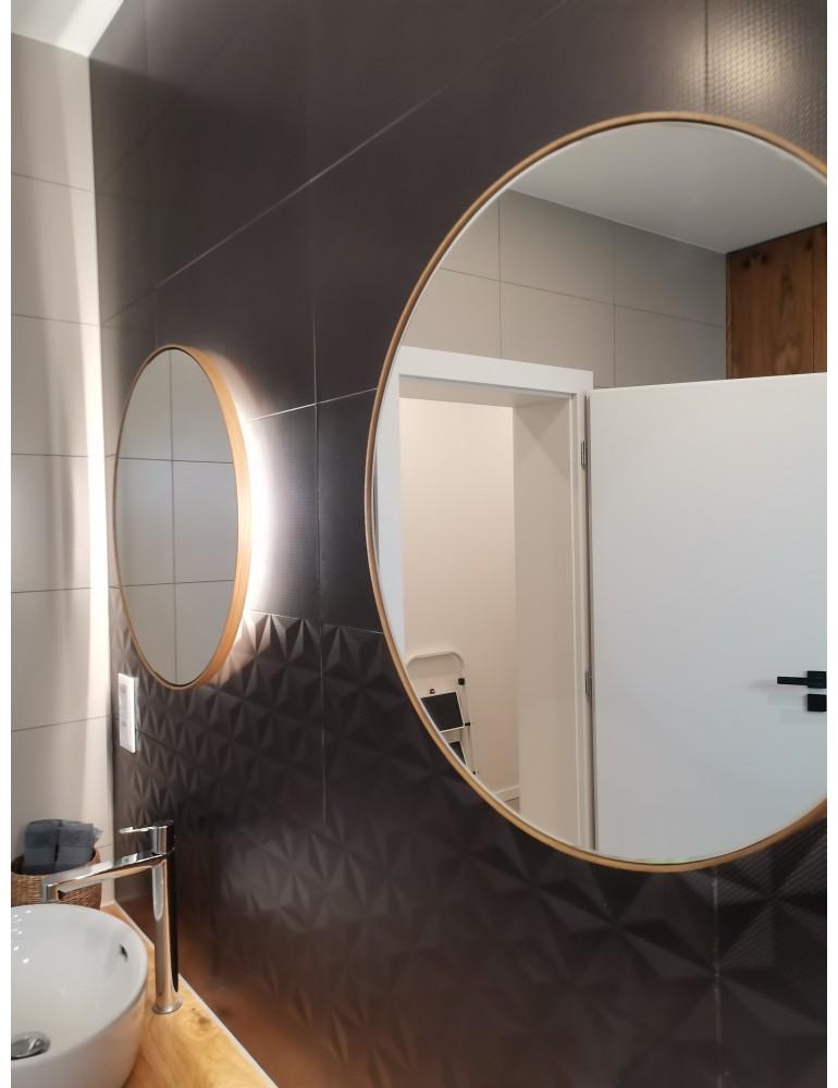 Dubové okrúhle zrkadlo s podsvietením