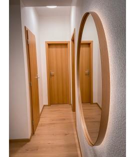 Bukové okrúhle zrkadlo s podsvietením