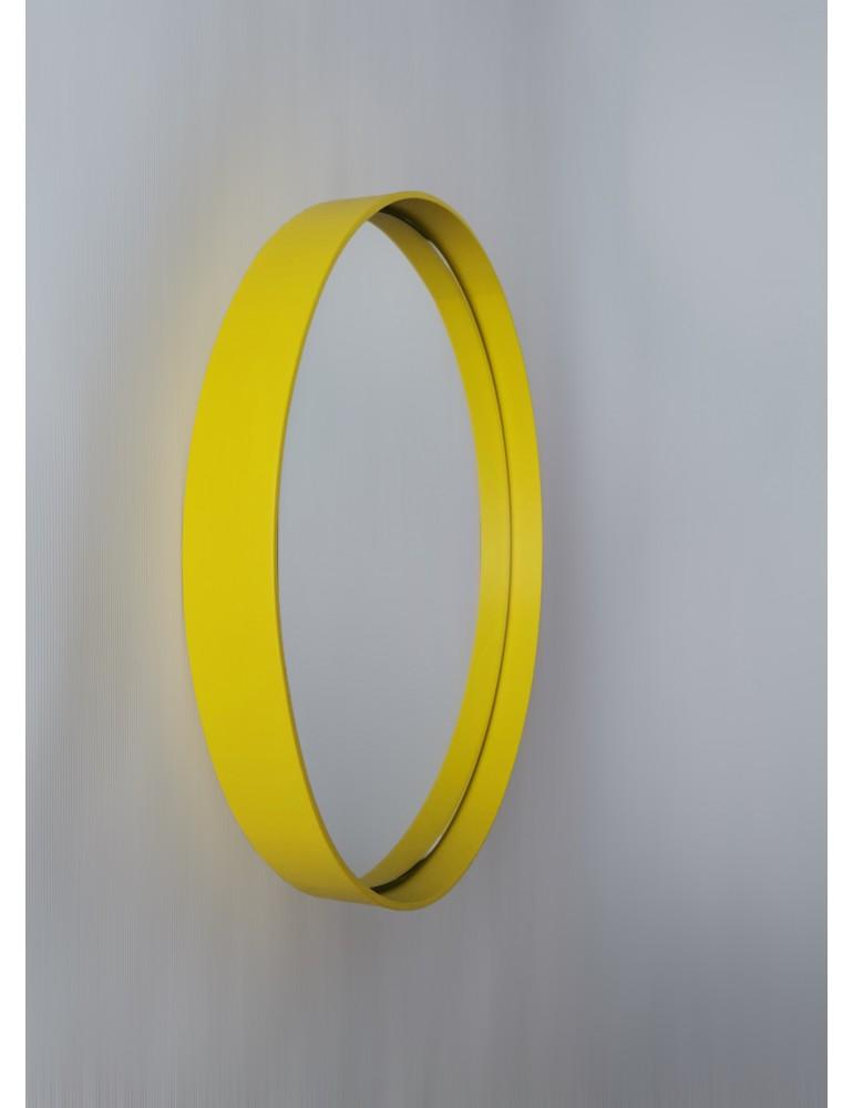 Žlté okrúhle zrkadlo s podsvietením