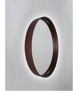 Tmavohnedé okrúhle zrkadlo podsvietené