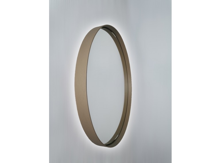 Béžové okrúhle zrkadlo s podsvietením
