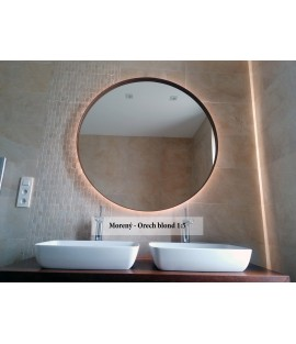 Orechové okrúhle zrkadlo s podsvietením