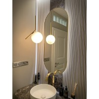 Zlaté oválne zrkadlo s podsvietením