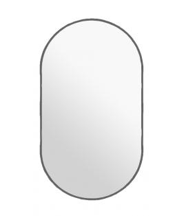 Strieborné oválne zrkadlo s podsvietením